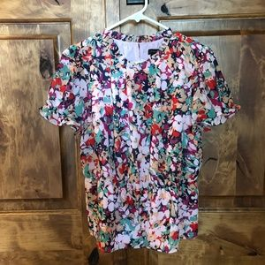 J Crew Ruffle - neck blouse in floral print chiffo